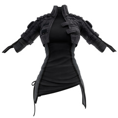 3D rendering of a women's leather jacket with a T-shirt