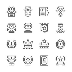 Set line icons of award