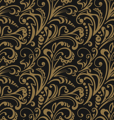 Seamless pattern. Vintage style background with floral ornaments. Abstract composition with gold elements on black backdrop. Illustration with an elegant design.