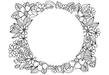 Vector floral frame in black and white. Can use for coloring and