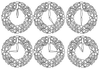 Vector flower watches with doodle elements. Set of floral frames