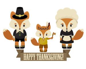 Foxes family pilgrims
