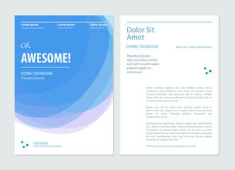 Business blue brochure, flyer, booklet design layout template. Vector illustration
