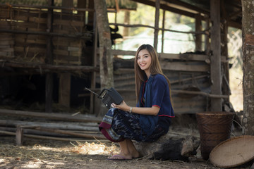 Livelihoods of Asia rural women in farmland.