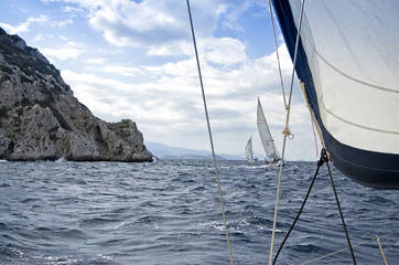 Yachting race/Race in the fresh wind during the regatta in the  mediterranean