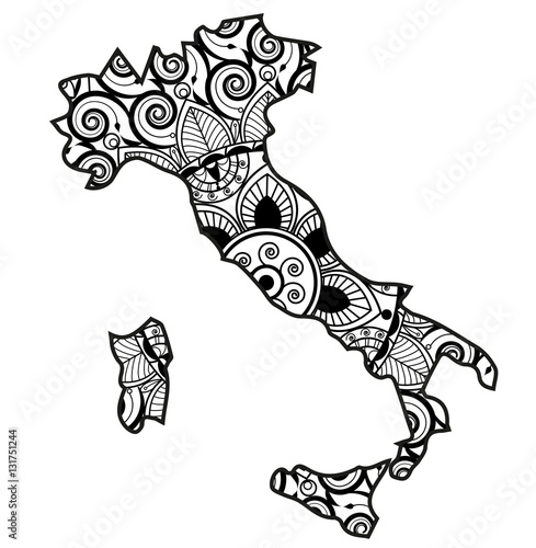 Vector Illustration Of An Italy Map Mandala For Coloring Book Carta