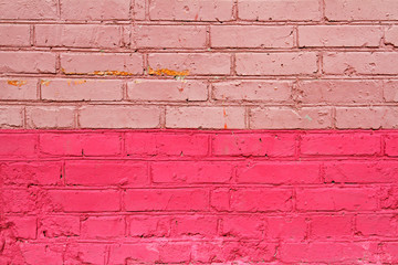 Pink brick wall as background, texture