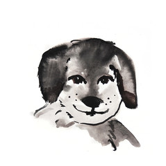 cute puppy watercolor illustration