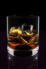 Three Dimensional Illustration of Whiskey in Glass