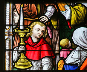 Stained Glass - Altar Boy and Candelabrum