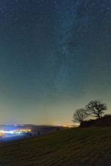 Night sky with the milky way as seen from a hill near Muehlingen in Germany.