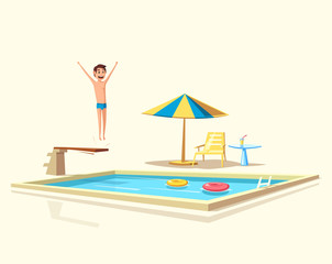 Man jumping. Swimming pool with a diving board. Cartoon Vector illustration