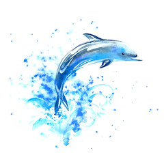 Blue dolphin and waves.Watercolor hand drawn illustration. Underwater animal image.