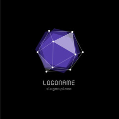 Unusual abstract geometric shapes vector logo. Circular, polygonal colorful logotypes on the black background.