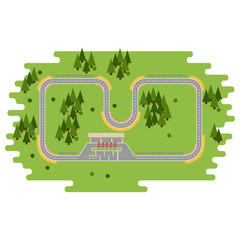 Race track curve road