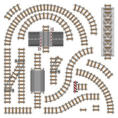 Vector illustration of railway parts - Grey rails