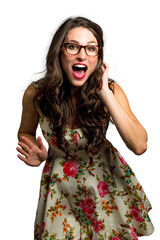 Quirky girl with glasses full of life and joy dancing and singing in good mood