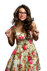 Nerdy fun retro style female full of cheerful youthful energy giddy and smiling