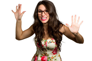 Silly quirky funny woman with youthful colorful personality bouncy energy vivacious expression