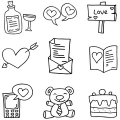 Illustration of love doodles collection