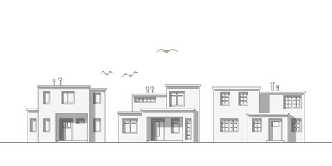 Illustration of modern thin line family housees
