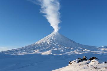 Poster Volcano Winter eruption Klyuchevskaya Sopka - active volcano of Kamchatka
