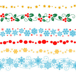 Vector set of decorative seamless elements and ornaments for New Year frame and border decorations.