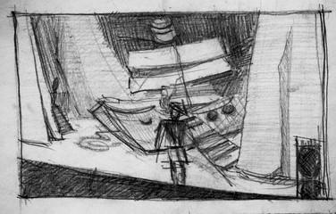 Scene in theater, pencil illustration