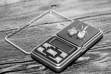 Tools of jewellery. Beautiful earrings.