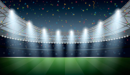 Soccer Stadium with spot light and confetti background. Football Arena. Vector illustration.