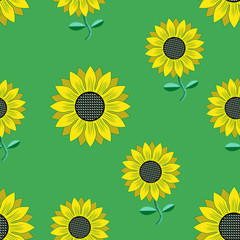 Seamless  background with sunflowers.