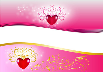 Beautiful decorative gold and pink heart background abstract Vector Illustration for Valentine's Day