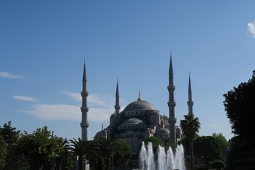 Famous Blue Mosque - Sultan-Ahmet-Camii as seen from the Fountain in the Park, in Istanbul, Turkey