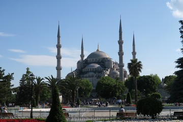 Park at Blue Mosque - Sultan-Ahmet-Camii, in Istanbul, Turkey.