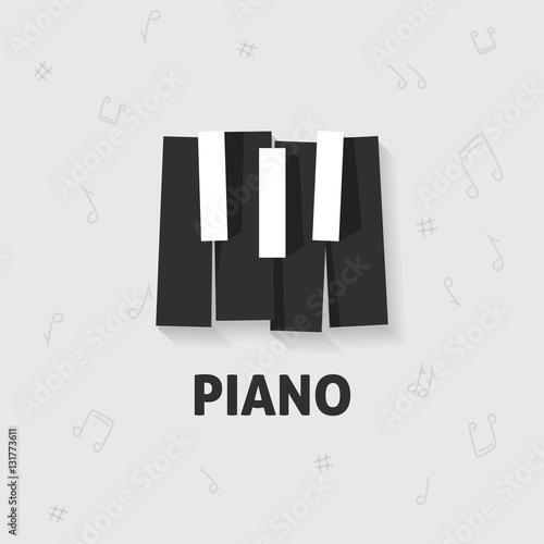 Piano Keys Vector Flat Black And White Logo Emblem Piano Keyboard