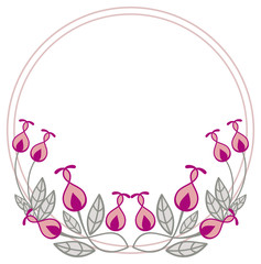 Beautiful round frame with decorative flowers.