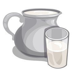 Jug of milk and filled glass Vector drink isolated