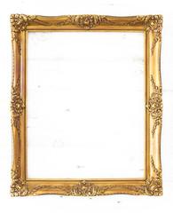 Goldener Bilderrahmen im Hochformat / isoliert mit Textfreiraum