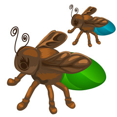 Bronze figure of insect bee or fly. Vector
