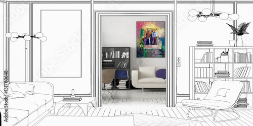 entwurf einer apartment einrichtung panoramisch. Black Bedroom Furniture Sets. Home Design Ideas