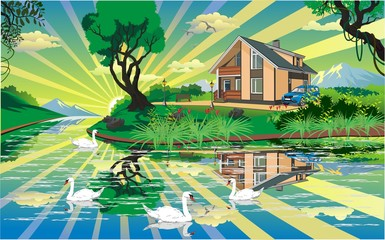 House By The Pond With Swans in vector