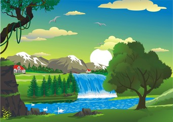 countryside - house by the waterfall, cartoon in vector