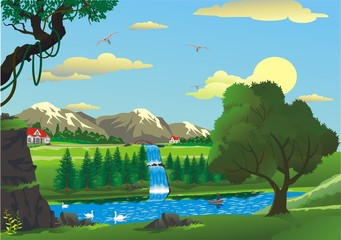 countryside - morning over a waterfall pattern in vector