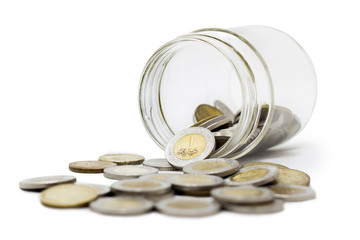 Egyptian Pounds, Coins in Jar, Isolated on White Background