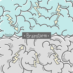 Concept of the brainstorm. Human brain
