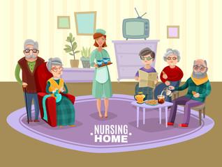 Nursing Old People Illustration