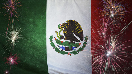 Mexico Flag Firework Grunge Concept real fabric