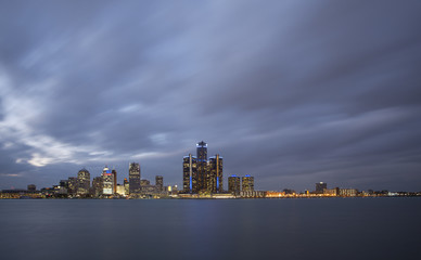 Detroit Skyline twilight