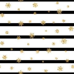 Christmas gold snowflake seamless pattern. Golden glitter snowflakes on black white lines background. Winter snow texture design wallpaper Symbol holiday, New Year celebration Vector illustration
