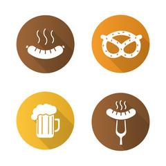 Octoberfest beer and snacks flat design long shadow icons set